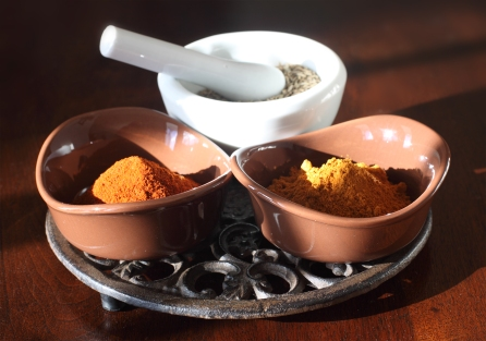 Penzey's smoked Spanish paprika (L), Ethiopian Berbere (R) and whole cumin seed