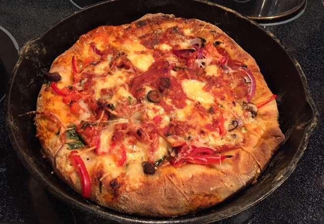 Gouda Stuffed Crust Cast-Iron Baked Pizza | Culinary Compost